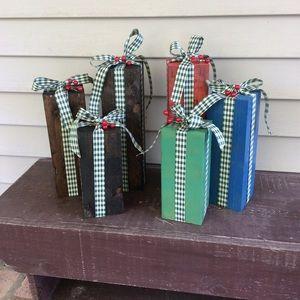 3pc rustic block presents